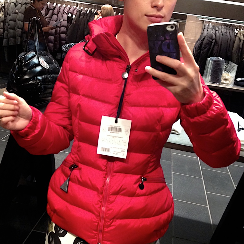 Moncler down jacket, $796 (54, 109lb, wears Moncler size 0 or 1)